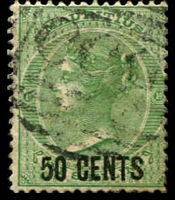 Lot 4147:1878 Surcharges SG #90 50c on 1/- green