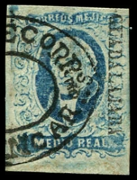 Lot 4332:1856 Hildago Wide Setting: SG #1a ½r blue 20mm 'GYADALJARA' opt 4-margins, Cat £34.