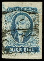 Lot 4333:1856 Hildago Wide Setting: SG #1a ½r blue 'DURANGO' opt 4-margins, Cat £34.