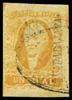 Lot 4337:1856 Hildago Wide Setting: SG #2a 1r deep yellow 22mm 'GYADALAJARA.' opt 4-margins, Cat £9.25.