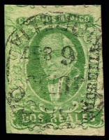 Lot 4338:1856 Hildago Wide Setting: SG #3 2r emerald 'MORELIA' opt 4-margins, Cat £43.