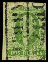 Lot 4339:1856 Hildago Wide Setting: SG #3b 2r green indistinct opt 3-margins, Cat £11.
