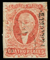 Lot 4340:1856 Hildago Wide Setting: SG #4 4r carmine-vermilion 'VERA CRUZ' opt 4-margins, Cat £110.