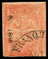 Lot 25767:1864-66 Eagle District Name and Small Figures: SG #35c 8r carmine-red Number and date only '8. 1866' ovpt of Cordova, 4-margins, Cat £50 for unused only.