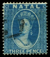 Lot 3998:1859-60 No Wmk Perf 14 SG #10 3d blue, Cat £55