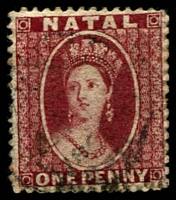 Lot 3999:1863 Chalon No Wmk Perf 13 SG #19,1d lake, Cat £29.