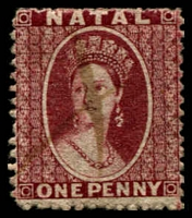 Lot 3906:1863 Chalon No Wmk Perf 13 SG #19,1d lake, pen cancel, Cat £29.
