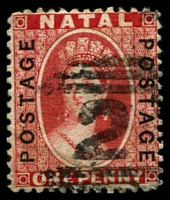 Lot 4002:1870-73 'POSTAGE/POSTAGE' Opt SG #60 1d bright red, '2' cancel, Cat £13.