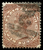 Lot 4004:1874-99 Wmk Crown/CC SG #69 4d brown P14, Cat £18.