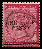 Lot 4180:1885 Surcharge ½d on 1d rose, forgery of SG #104.