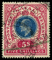 Lot 3954:1902 KEVII High Values SG #140 5/- dull blue & rose, Cat £12, fiscal cancel.