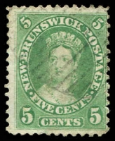 Lot 26116:1860-63 Definitives SG #14, 5c yellow-green, Cat £18.