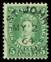Lot 23300:1860-63 Definitives SG #16, 5c sap green, Cat £40.