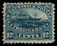 Lot 23301:1860-63 Definitives SG #18, 12½c indigo Ship, small thin, Cat £42.