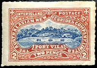 Lot 4039:Australasian New Hebrides Company: 1897 1d mauve & black & 2d red-brown & blue.
