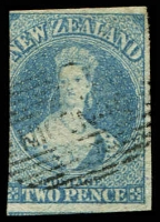 Lot 4045:1862-64 Chalon Imperf Wmk Star SG #38 2d pale blue 3-margins, Cat £90.