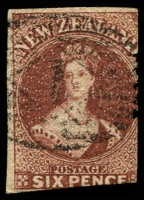 Lot 4046:1862-64 Chalon Imperf Wmk Star SG #43 6d red-brown 2½-margins, Cat £110.