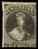Lot 25494:1862-64 Chalon Imperf Wmk Star SG #41, 6d black-brown 2-margins, Cat £130.