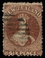 Lot 23530:1864-71 Chalon Wmk Large Star Perf 12½ At Auckland SG #122a, 6d brown, Cat £42.