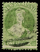 Lot 4051:1864-71 Chalon Wmk Large Star Perf 12½ At Auckland SG #125 1/- yellow-green, Cat £120.