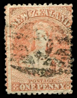Lot 25499:1864-71 Chalon Wmk Large Star Perf 12½d At Auckland SG #111, 2d pale orange-vermilion, mild oxidation, Cat £42.