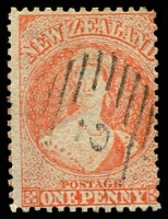 Lot 4048:1864-71 Chalon Wmk Large Star Perf 12½d At Auckland SG #111a 2d orange, Cat £90, cancelled with '2'.