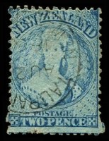 Lot 25501:1864-71 Chalon Wmk Large Star Perf 12½d At Auckland SG #113, 2d pale blue (Plate I worn), Cat £30.