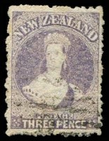 Lot 23443:1864-71 Chalon Wmk Large Star Perf 12½d At Auckland SG #117, 3d lilac, Cat £35.