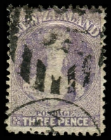 Lot 4049:1864-71 Chalon Wmk Large Star Perf 12½d At Auckland SG #117 3d lilac, Cat £35.