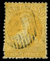Lot 26259:1864-71 Chalon Wmk Large Star Perf 12½d At Auckland SG #120, 4d yellow, Cat £120.