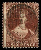 Lot 4050:1864-71 Chalon Wmk Large Star Perf 12½d At Auckland SG #122 6d red-brown, Cat £28.