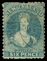 Lot 4053:1871-73 Chalon New Colours Wmk Large Star Perf 12½ SG #136 6d pale blue, Cat £55.
