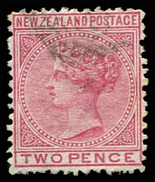 Lot 4054:1874-78 First Sideface White Paper Wmk NZ & Star White Paper Perf 12½ SG #153 2d rose.