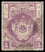 Lot 24120 [2 of 2]:1889 High Values SG #49-50, $5 violet & $10 brown, remainder cancels, Cat £20.50. (2)