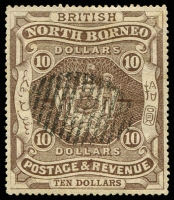 Lot 24120 [1 of 2]:1889 High Values SG #49-50, $5 violet & $10 brown, remainder cancels, Cat £20.50. (2)