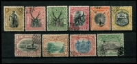 Lot 24122 [1 of 2]:1897-1902 Pictorials SG #92-110 range, 1c to 24c, excl 3c, 10c & 12c, 18c is corrected design, remainder cancels. (10)