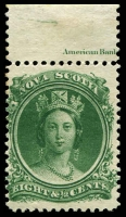 Lot 4141:1860-63 White Paper SG #26 8½c deep green, MUH, marginal single with part imprint, Cat £23.