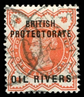 Lot 27001:1892-94 'British Protectorate Oil Rivers' SG #1 ½d vermilion, Cat £13