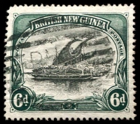 Lot 4064:1901-05 British New Guinea Wmk Horizontal SG #6 6d black & myrtle-green, Cat £35.