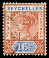 Lot 27217:1890-92 Die II SG #14, 16c chestnut & ultramarine, Cat £11.