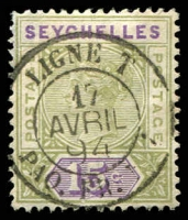 Lot 4348:1893 New Colours SG #24 15c sage-green & lilac, with fine 1894 'LIGNE T' TPO cancel.