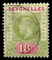 Lot 27219:1912-16 KGV Wmk MCA SG #76, 18c sage-green & carmine, Cat £12.