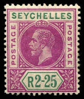 Lot 4349:1912-16 KGV Wmk MCA SG #81 2r25 deep magenta & green, Cat £75.