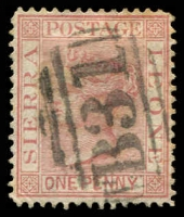 Lot 4354:1876 QV Wmk Crown/CC Perf 14 SG #17 1d rose-red, Cat £15.