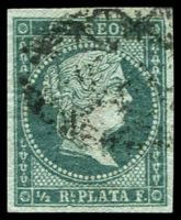 Lot 4598:1855 Isabella on Blue Paper SG #1 ½r blue-green, 4-margins.