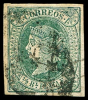 Lot 4600 [3 of 3]:1864 Isabella New Colours SG #15,16,18a ½r green, ½r green/rose & 2r vemilion, all 4-margins (3)