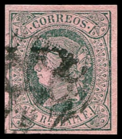 Lot 4600 [1 of 3]:1864 Isabella New Colours SG #15,16,18a ½r green, ½r green/rose & 2r vemilion, all 4-margins (3)