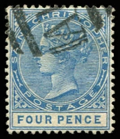 Lot 24596:1870-79 QV Wmk Crown/CA Perf 14 SG #17 4d blue, Cat £16.