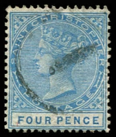 Lot 4309:1870-79 QV Wmk Crown/CC Perf 14 SG #8 4d blue, Cat £15.