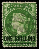 Lot 24880:1864-80 Wmk Crown/CC Surcharges Perf 12½ SG #19 1/- deep green, Type C, 16.